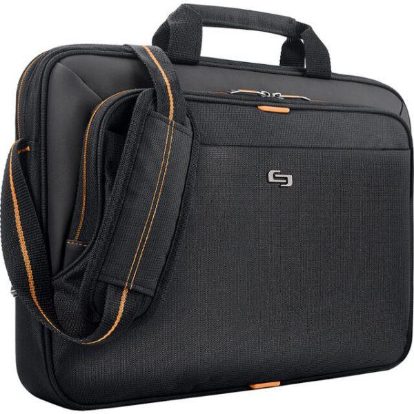 """Solo 15.6"""" Laptop Slim Briefcase - Black/Orange"""